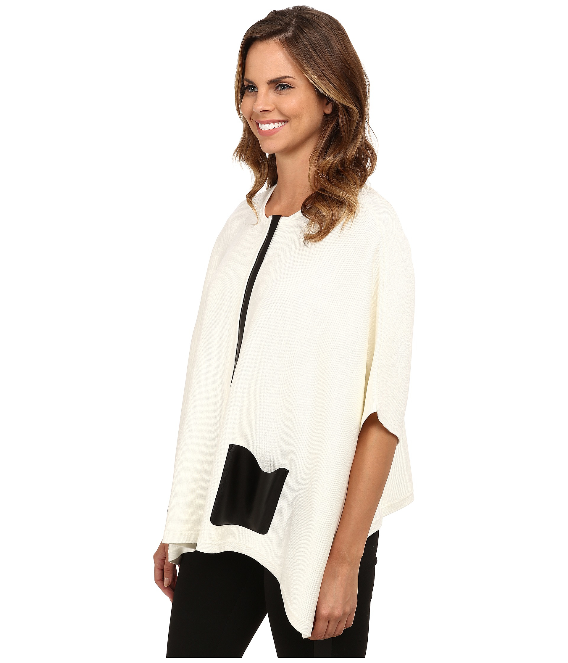 Calvin klein Sweater Cape With Faux Leather Pocket in White | Lyst