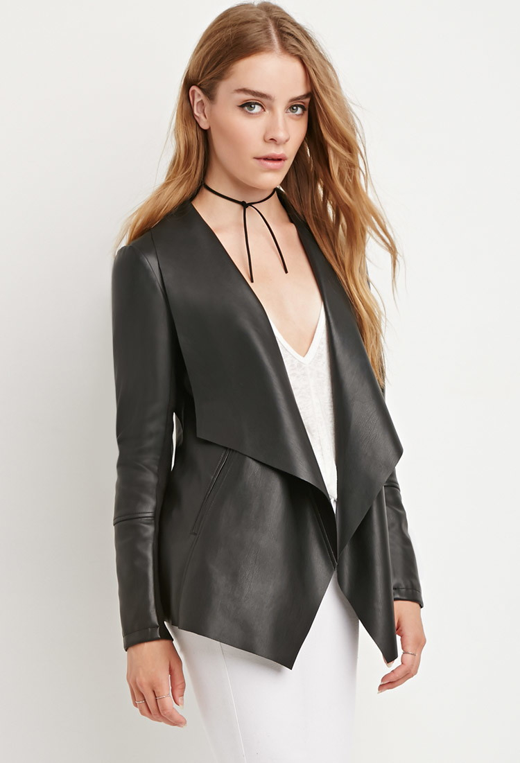 forever 21 draped faux leather jacket in black lyst