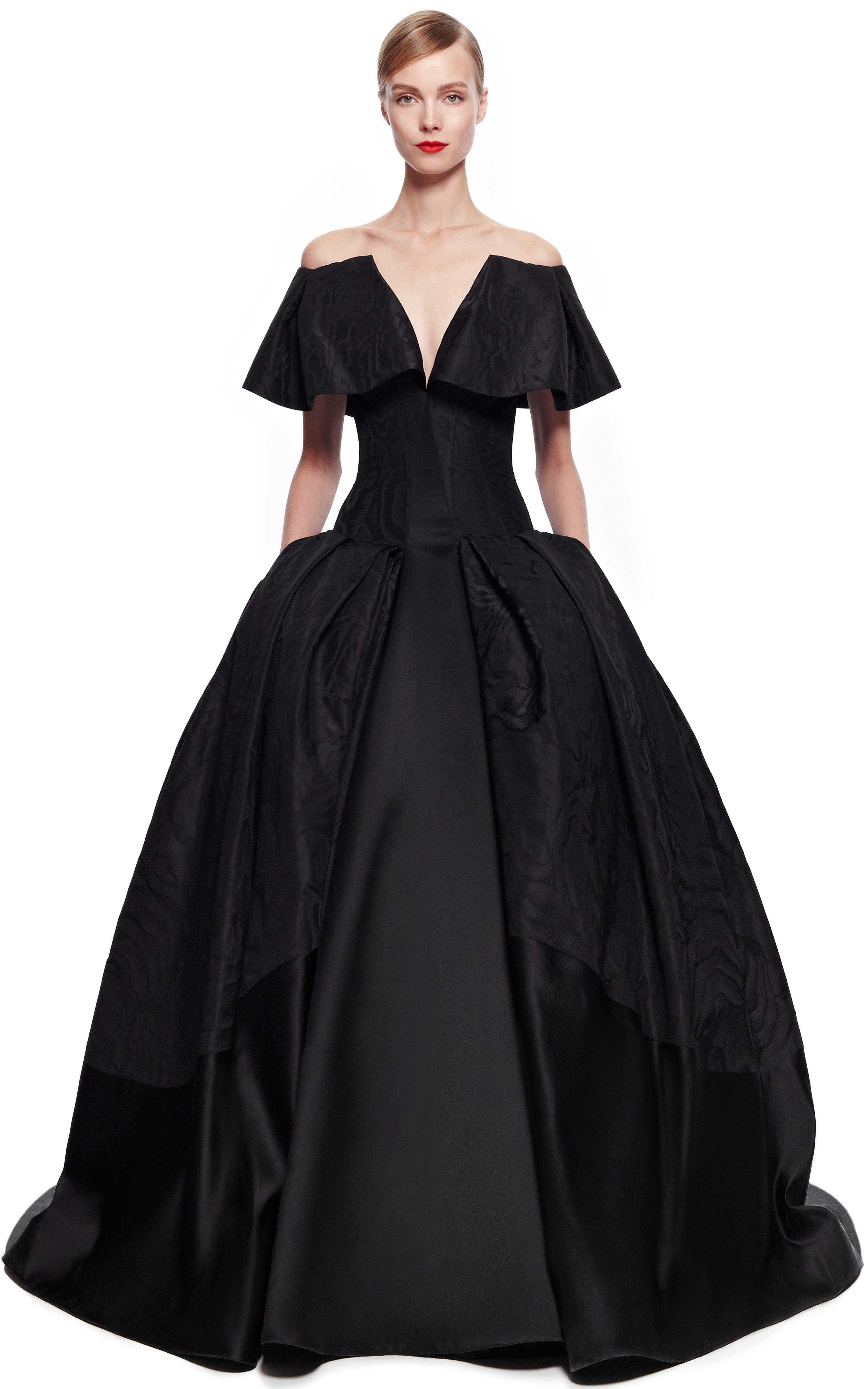 Zac Posen Taffeta Jacquard Gown In Black Lyst