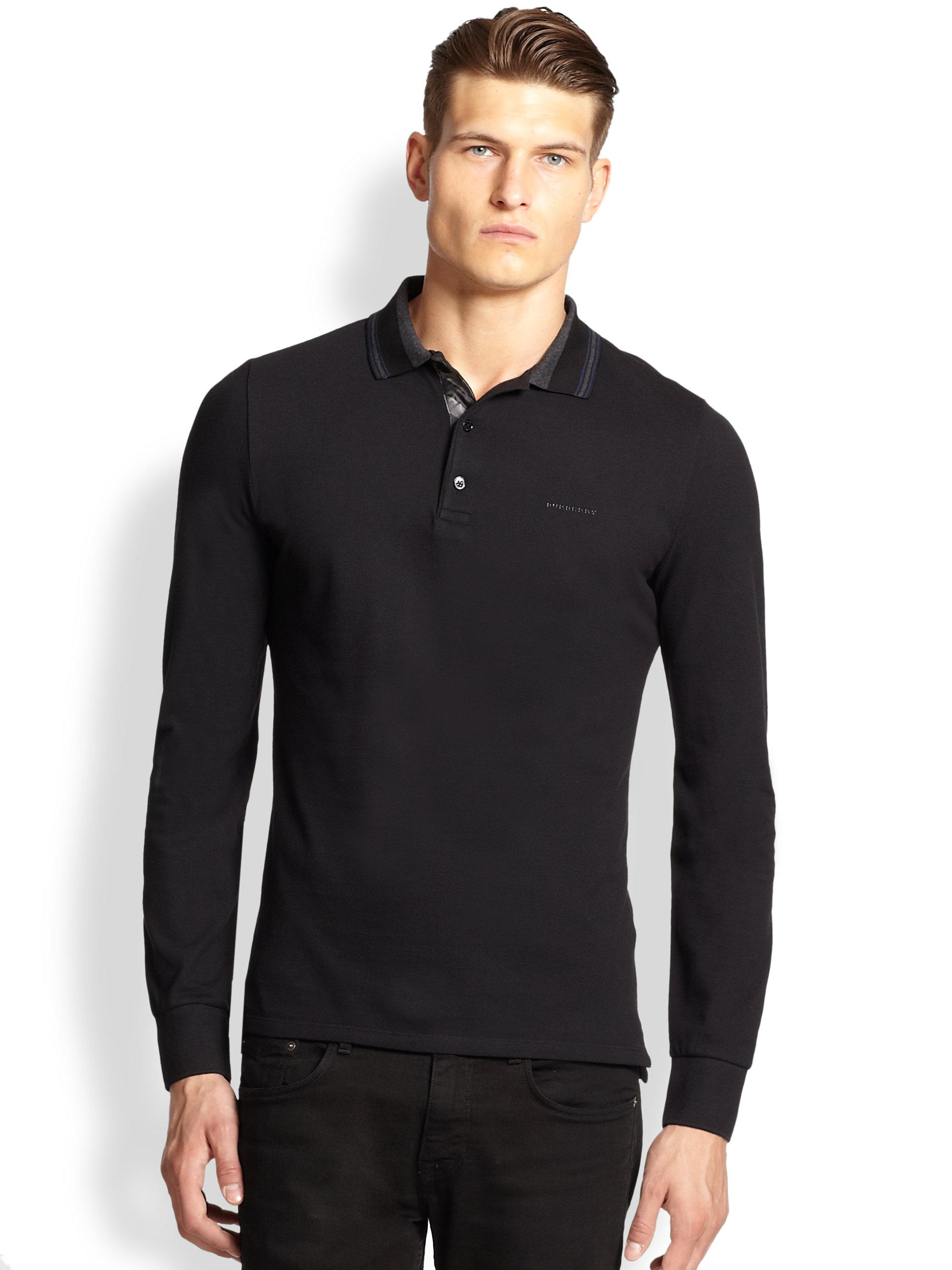 Burberry London Addington Longsleeve Polo Shirt In Black