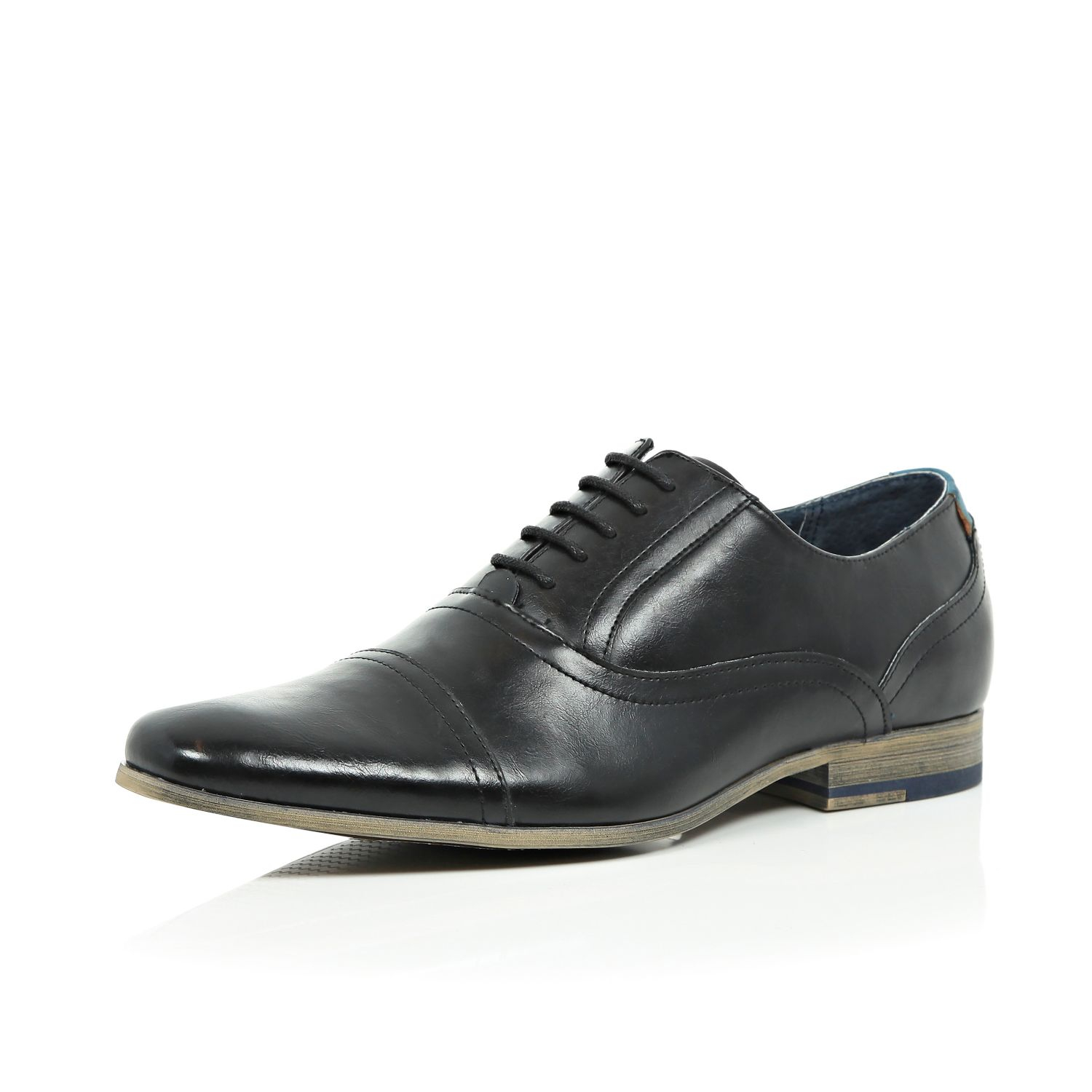 river island black leather formal lace up shoes in black