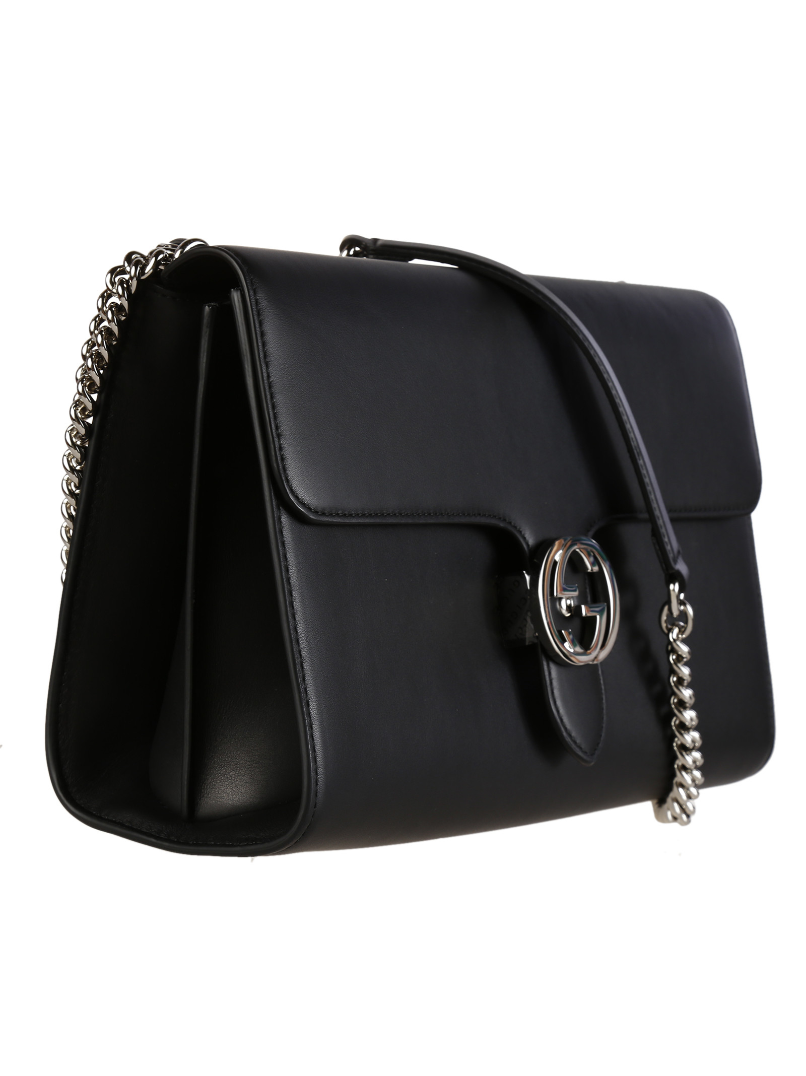 gucci moon leather interlocking shoulder bag in black lyst