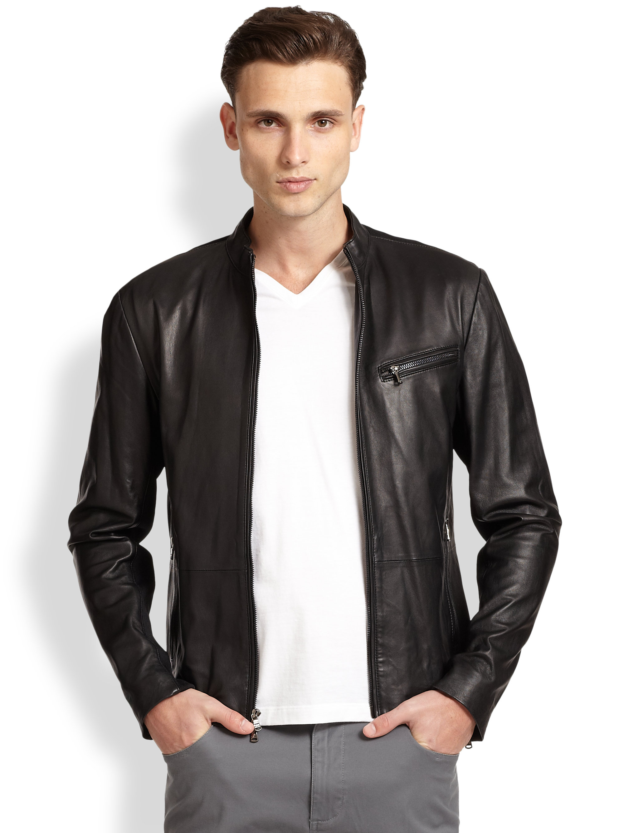 0348c42ae Michael Kors Black Leather Moto Jacket for men