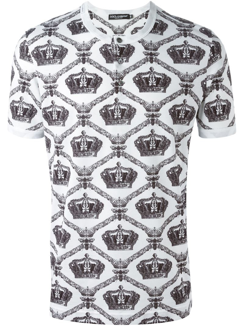 Lyst dolce gabbana crown bee print henley t shirt in for Dolce and gabbana printed t shirts