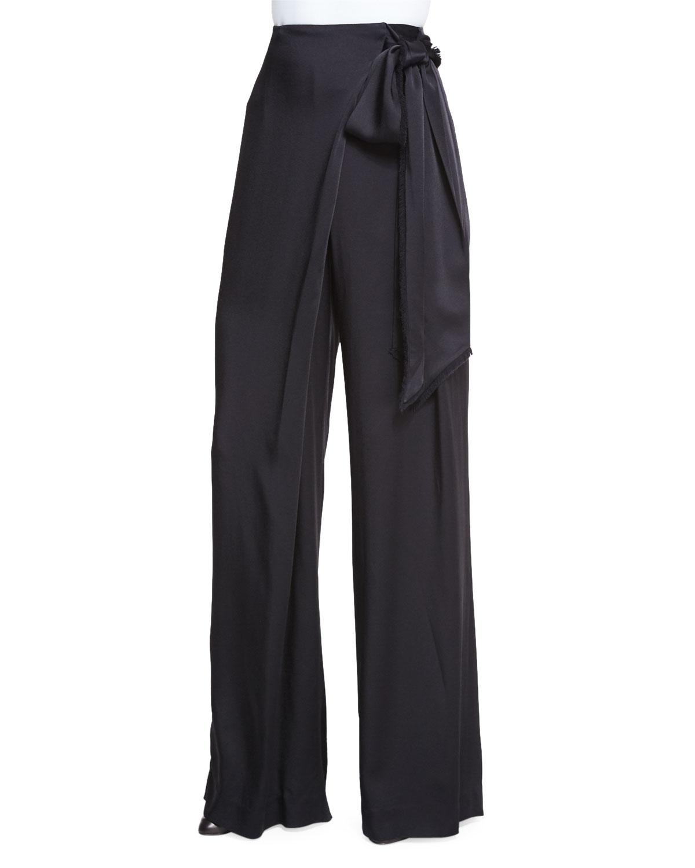 Maiyet Wide Leg Wrap Pants In Black Lyst