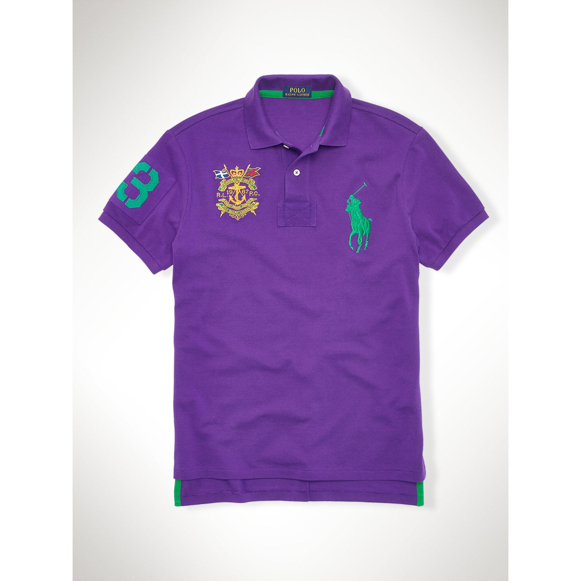 Lyst polo ralph lauren custom fit big pony crest polo in for Black ralph lauren shirt purple horse