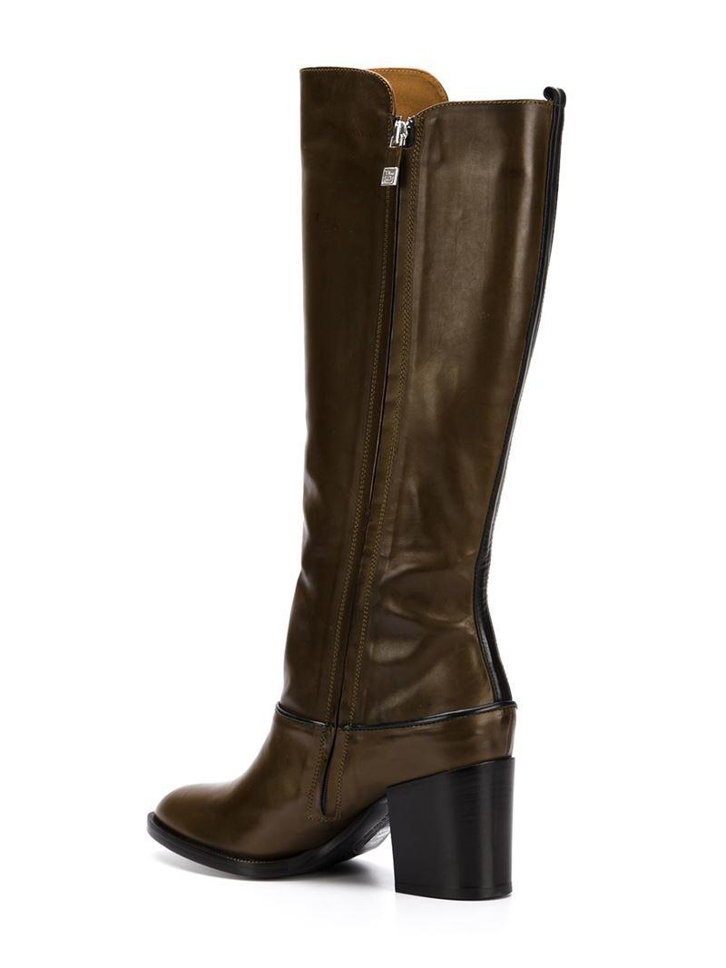 alberto fermani chunky heel knee length boots in brown lyst