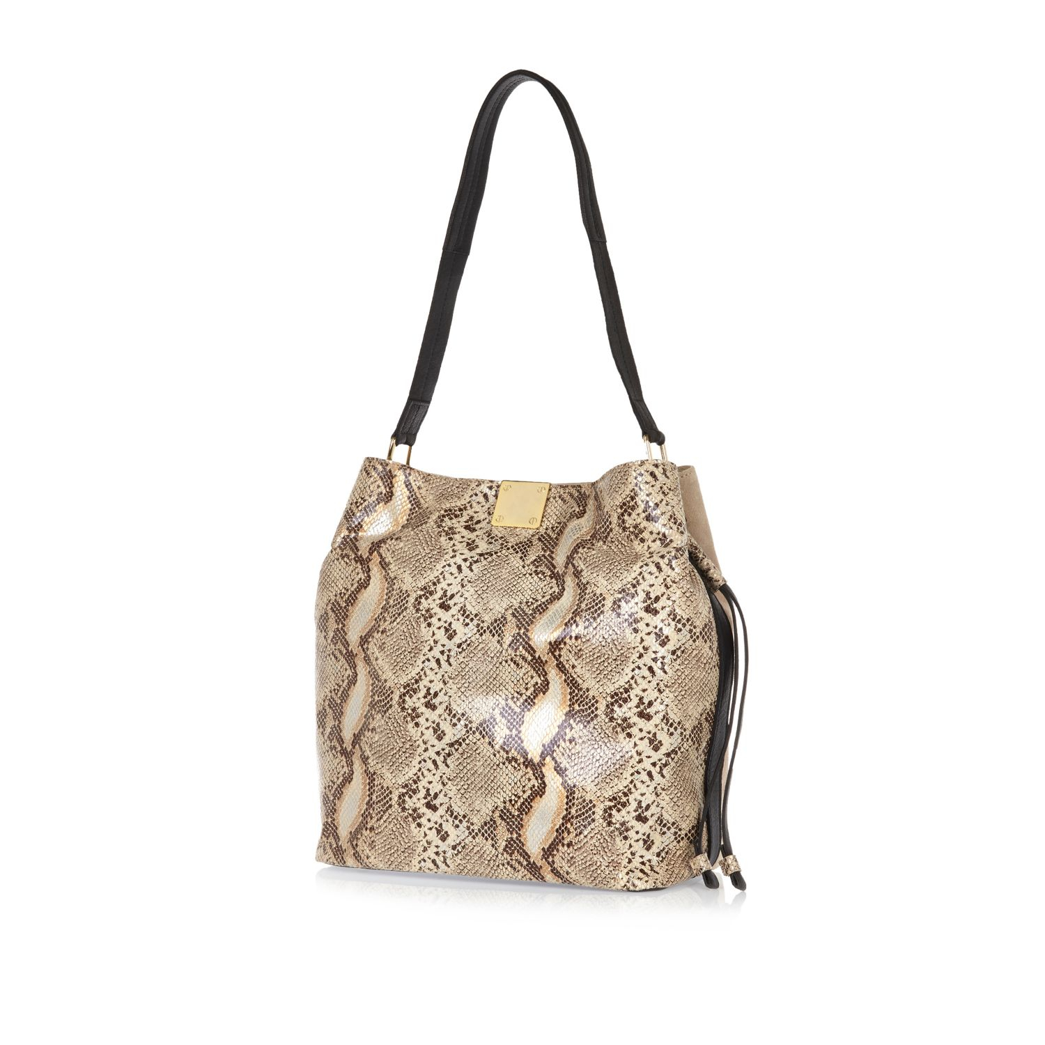 131cbe77 River Island Cream Snake Print Suede Slouchy Bucket Bag in Natural ...