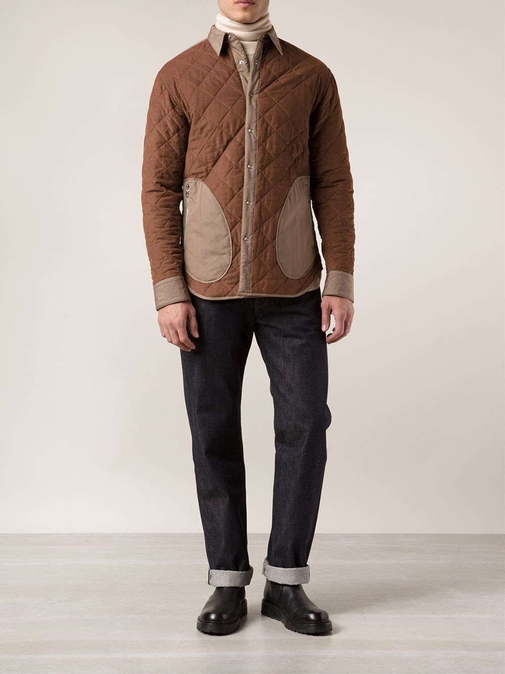Umit Benan Quilted Shirt Jacket in Brown for Men