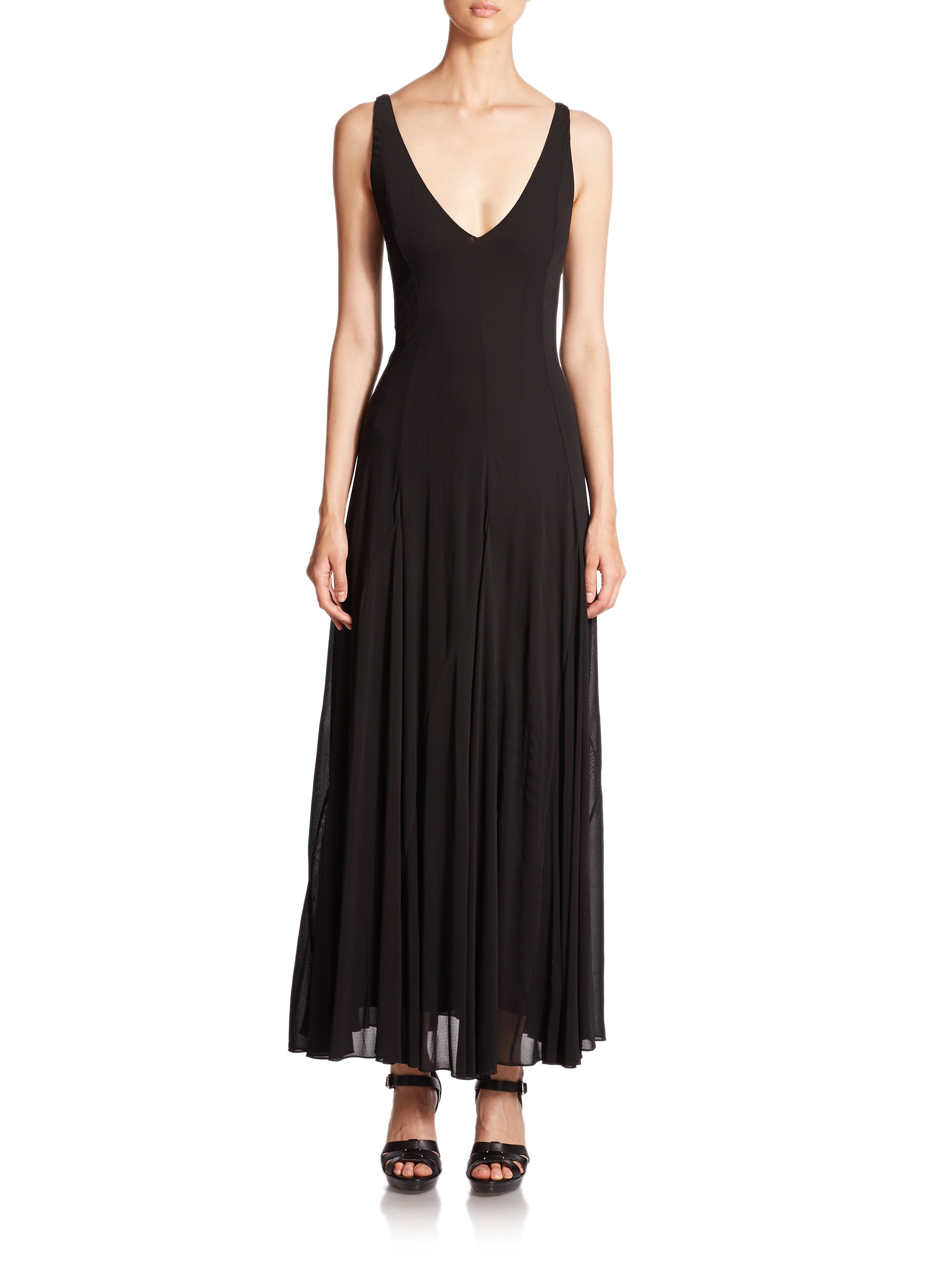Lyst Polo Ralph Lauren Jersey V Neck Maxi Dress In Black