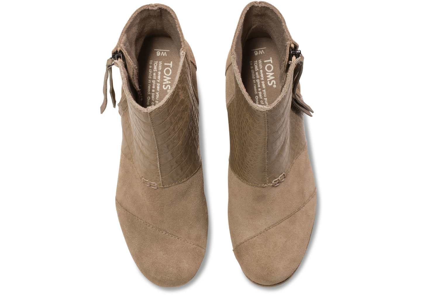 a8aa5cc892a2 Lyst - TOMS Taupe Suede Croc Emboss Women s Desert Wedge Highs in Brown