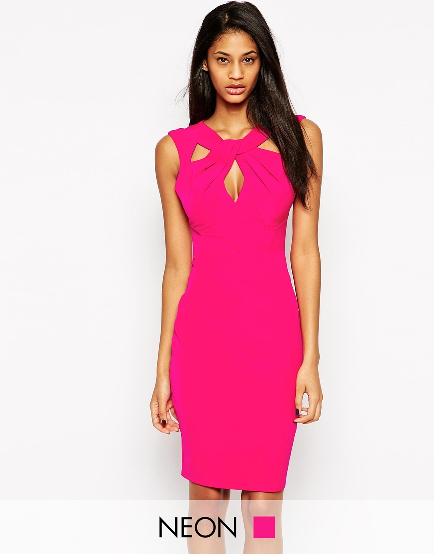 Lipsy Knot Front Pencil Dress in Pink | Lyst