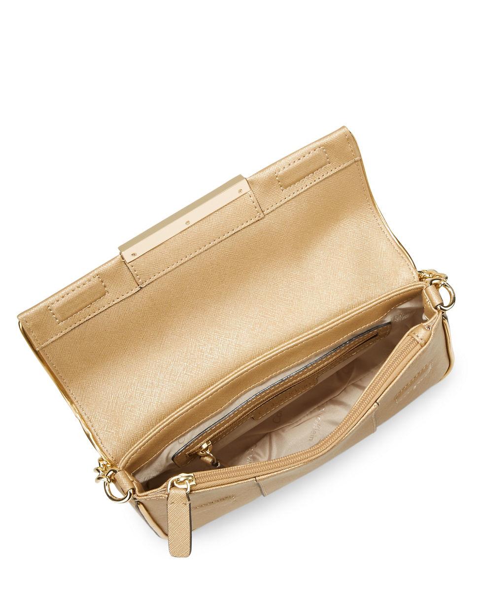 calvin klein saffiano leather shoulder bag in gold gold. Black Bedroom Furniture Sets. Home Design Ideas