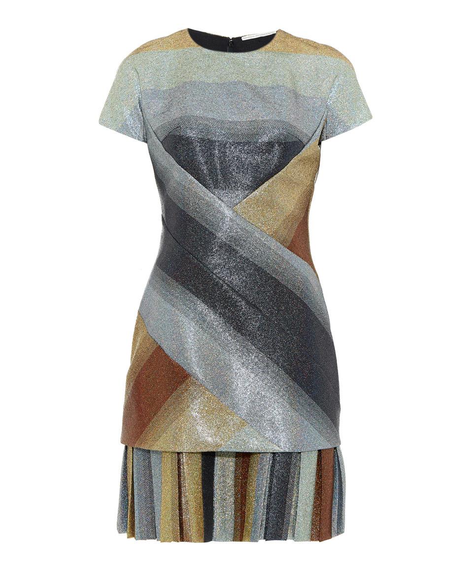 Multicolour Pleated Hem Metallic Dress