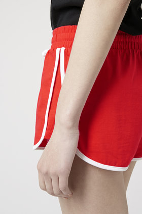 Topshop Sporty Side Step Runner Shorts in Red | Lyst