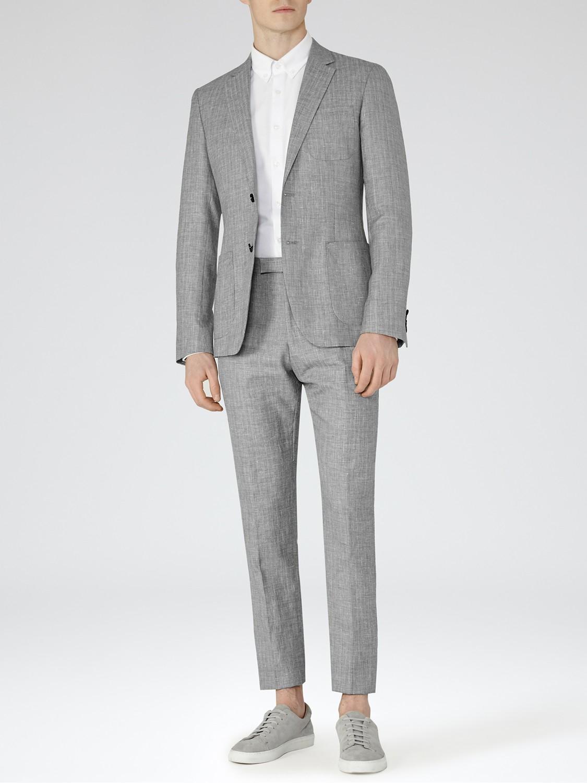 Reiss Roman Herringbone Weave Linen Slim Fit Suit Jacket in Grey (Blue) for Men