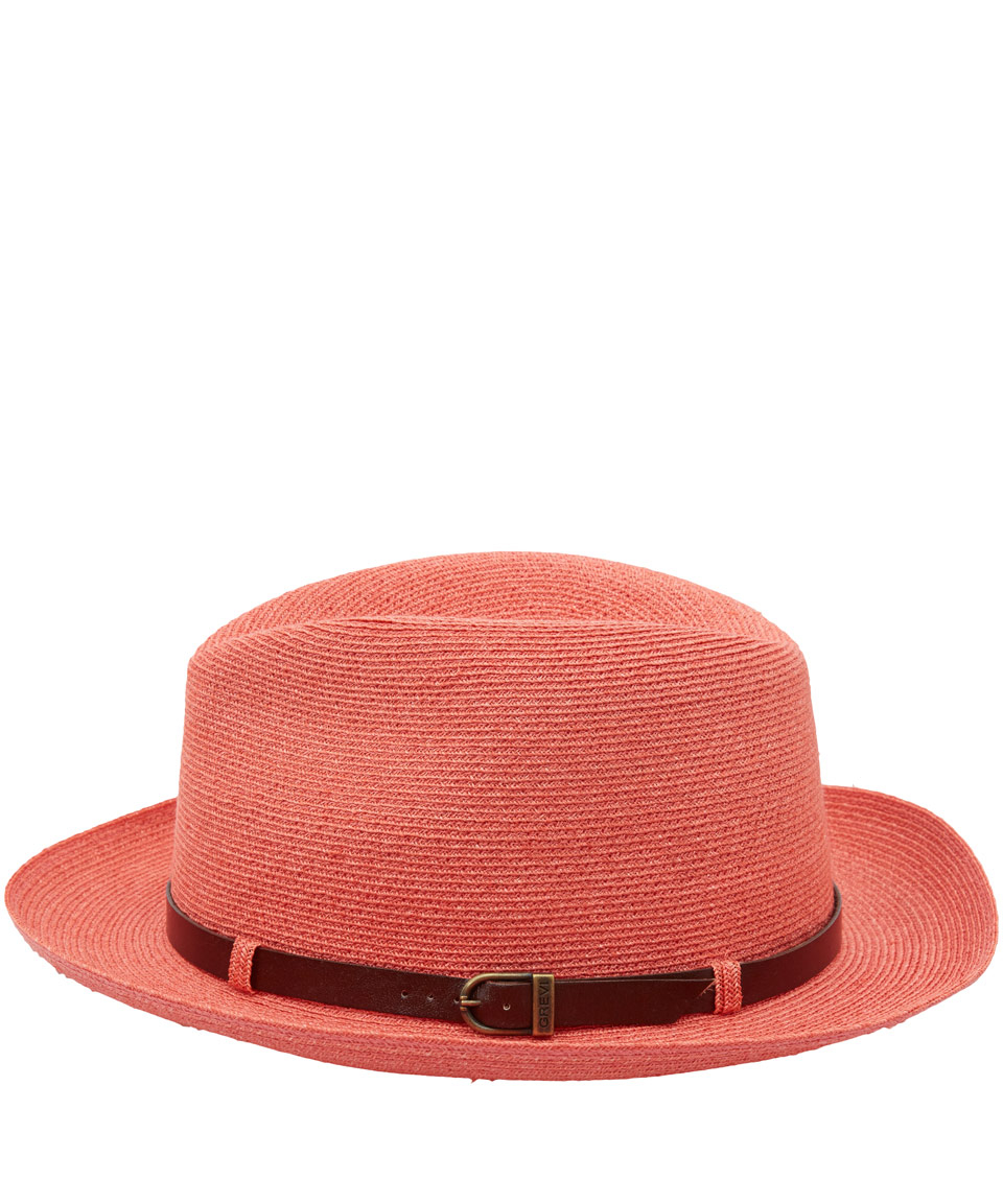 Grevi Coral Woven Hat With Leather Belt In Pink