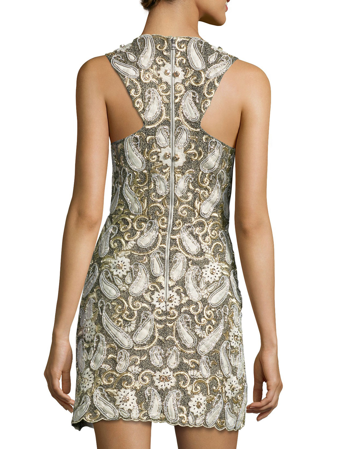Alice olivia jania embroidered sleeveless dress in brown