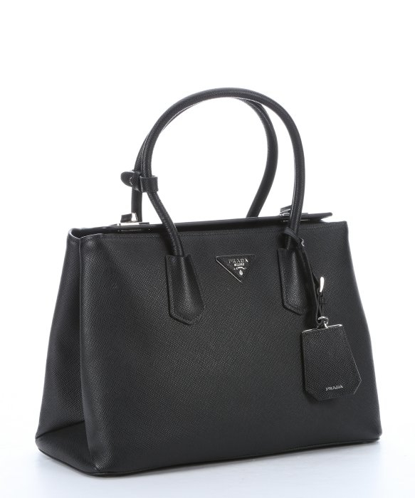 Prada Black Leather Structured Top Handle Tote Bag in Black | Lyst