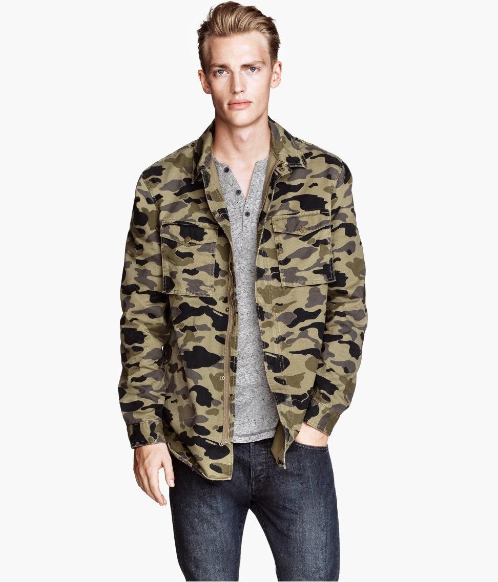 H&M Shirt Jacket in Khaki Green (Natural) for Men