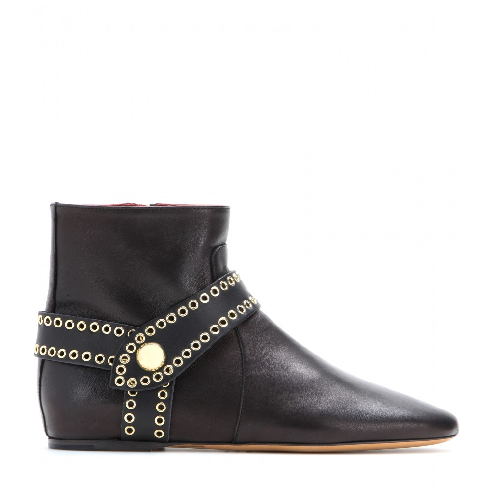 Isabel Marant Largo Leather Ankle Boots in Black