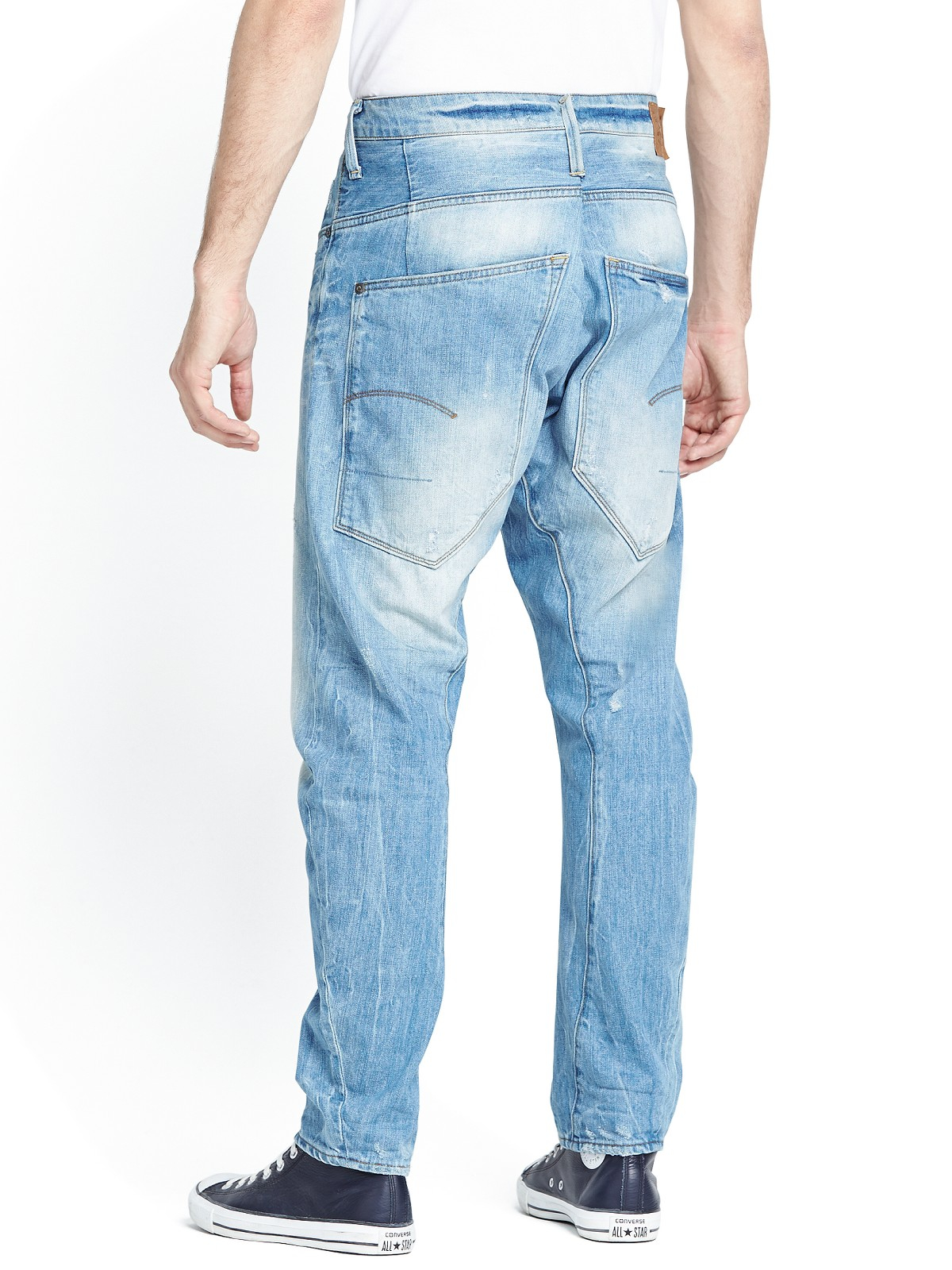 g star raw mens type c 3d loose tapered jeans in blue for men light aged lyst. Black Bedroom Furniture Sets. Home Design Ideas