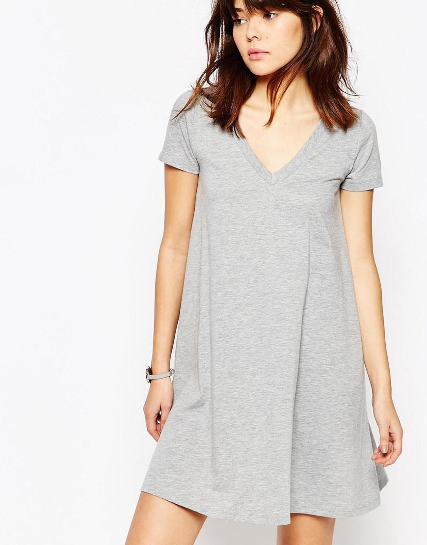 Lyst Asos V Neck Swing T Shirt Dress In Gray I Am Cotton Romper Hippie Blue