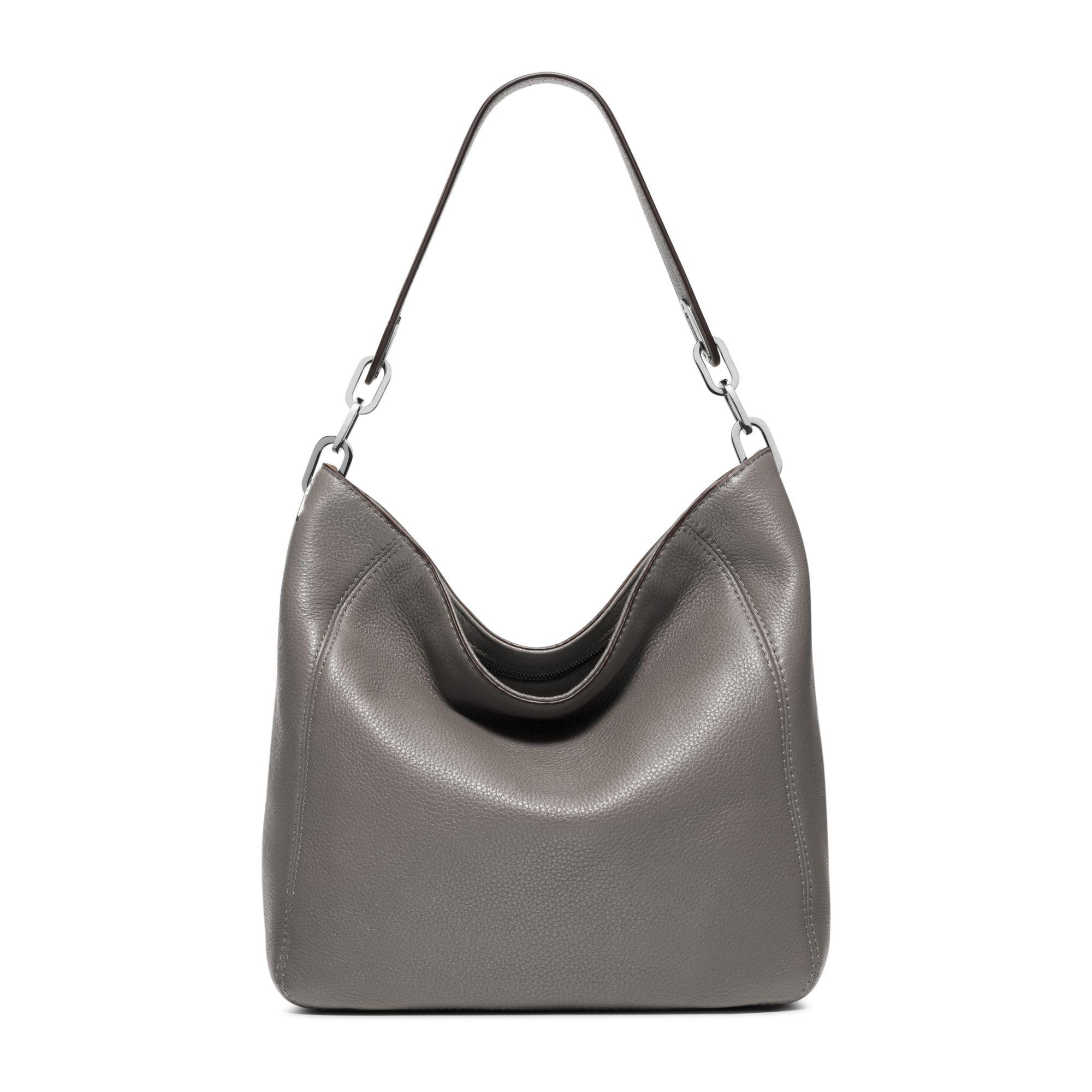 lyst michael kors fulton medium leather shoulder bag in gray rh lyst com