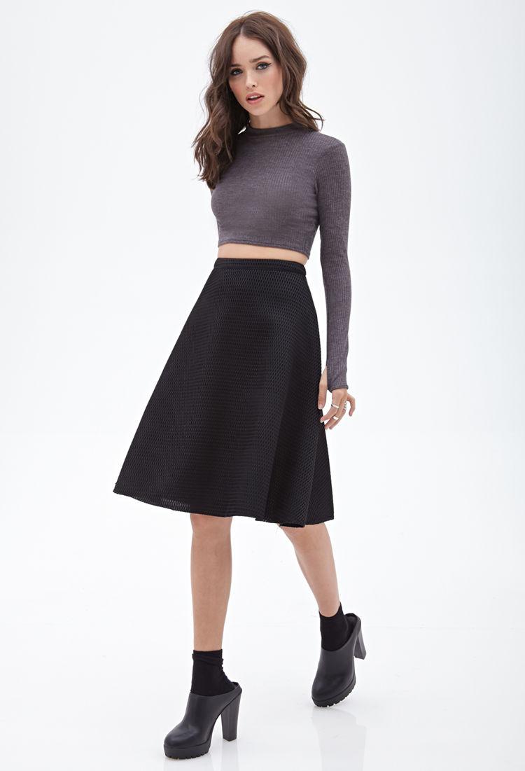 Forever 21 A-line Mesh Midi Skirt in Black | Lyst