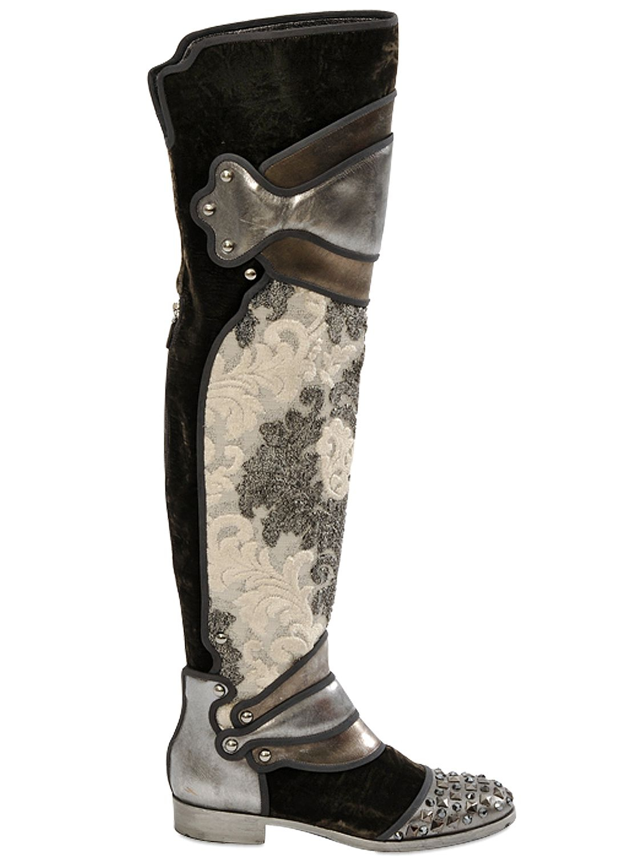 cf429e2be6cd Lyst - Dolce   Gabbana 20mm Brocade Leather Velvet Boots in Gray