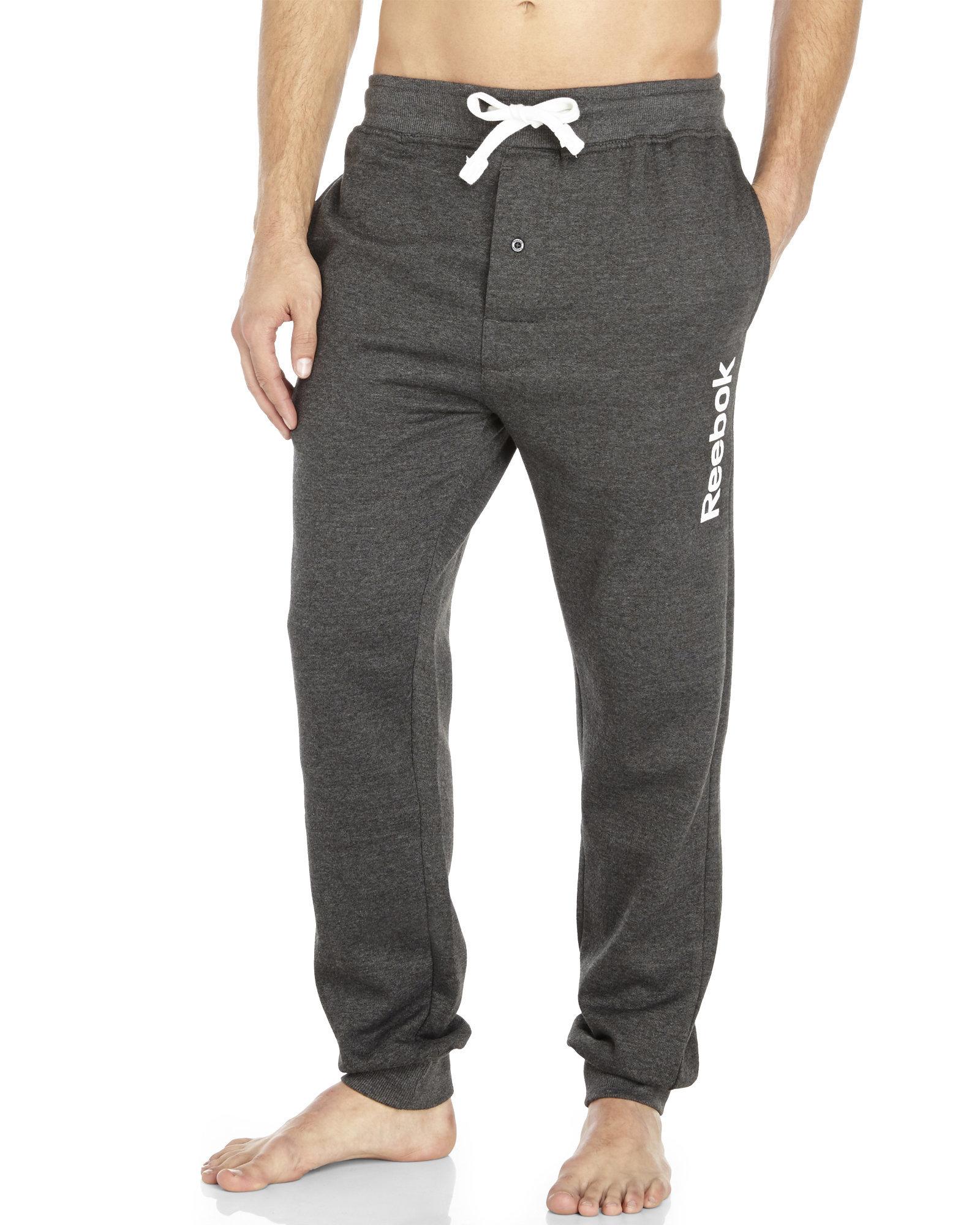 Reebok Men/'s Knit Lounge Pants Light Charcoal Heather M