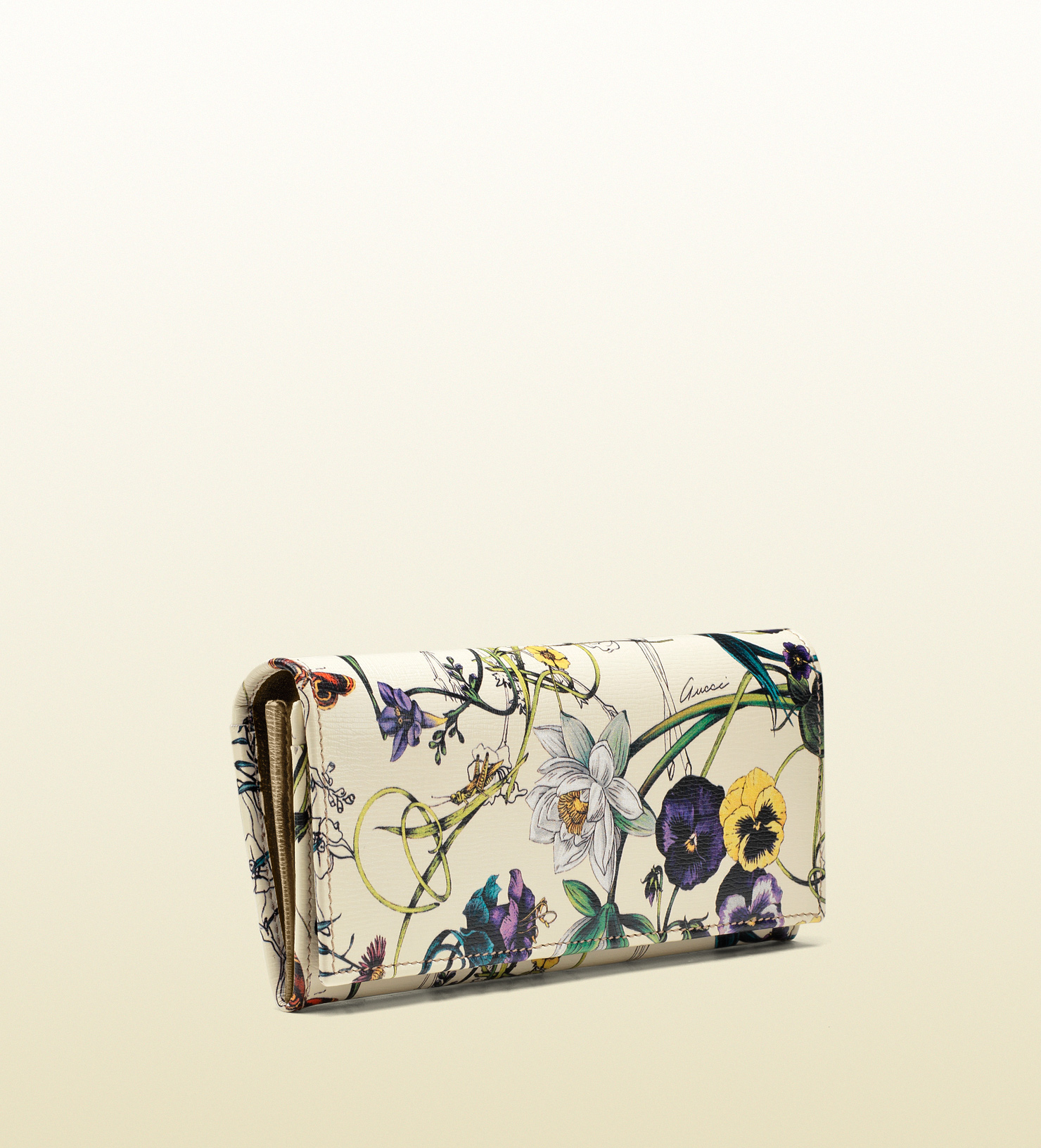 22ffb0b9e8f Lyst - Gucci Leather and Flora Print Coin Pocket Wallet in White