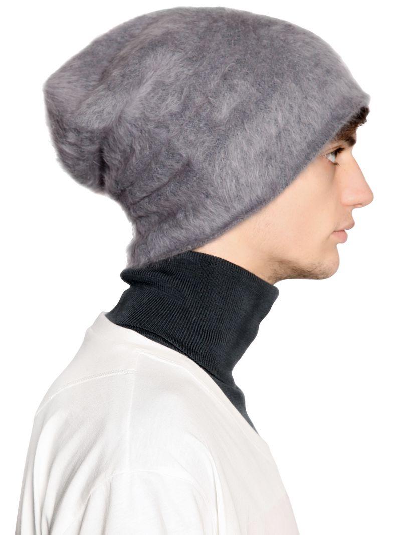 Lyst - Andrea Pompilio Angora Blend Beanie Hat in Gray for Men 8011cd52013