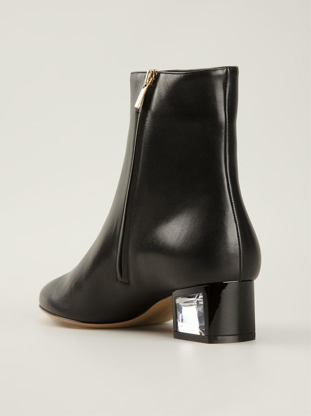 Ferragamo Block Heel Ankle Boots in Black