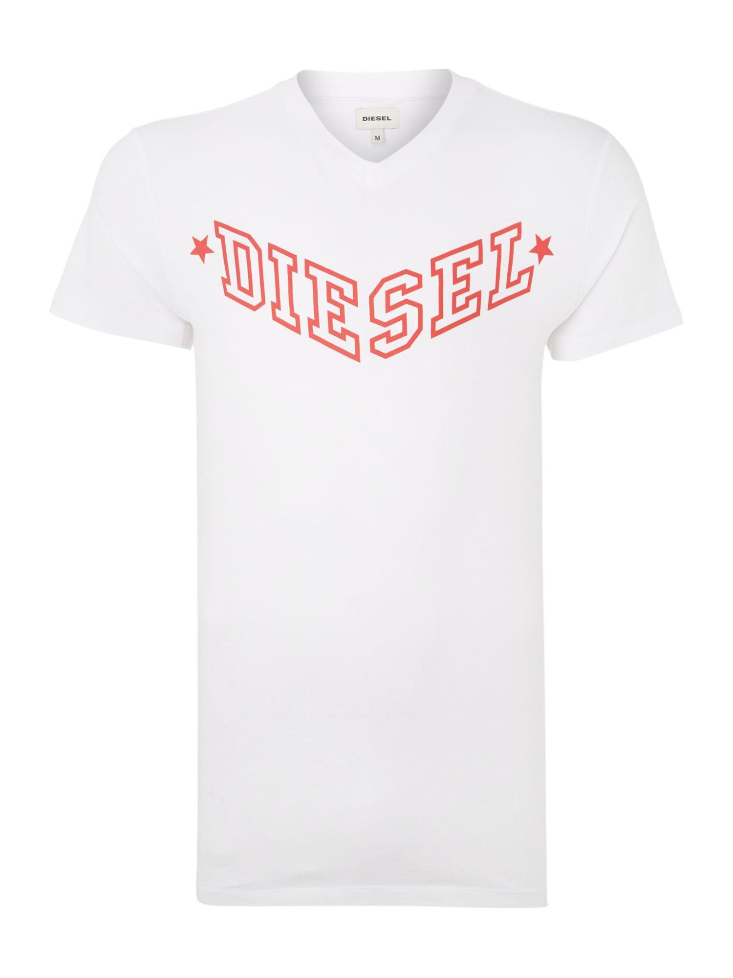 DIESEL Cotton V Neck V Logo T Shirt in White for Men - Lyst