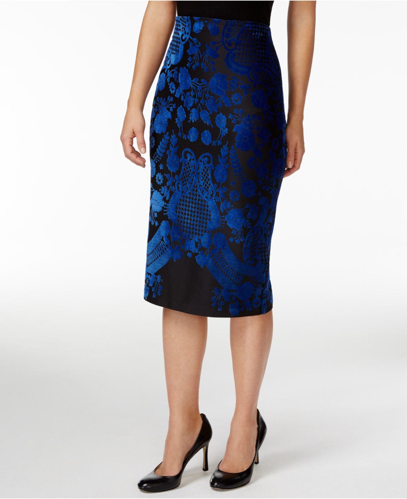 eci velvet printed pencil skirt in blue lyst