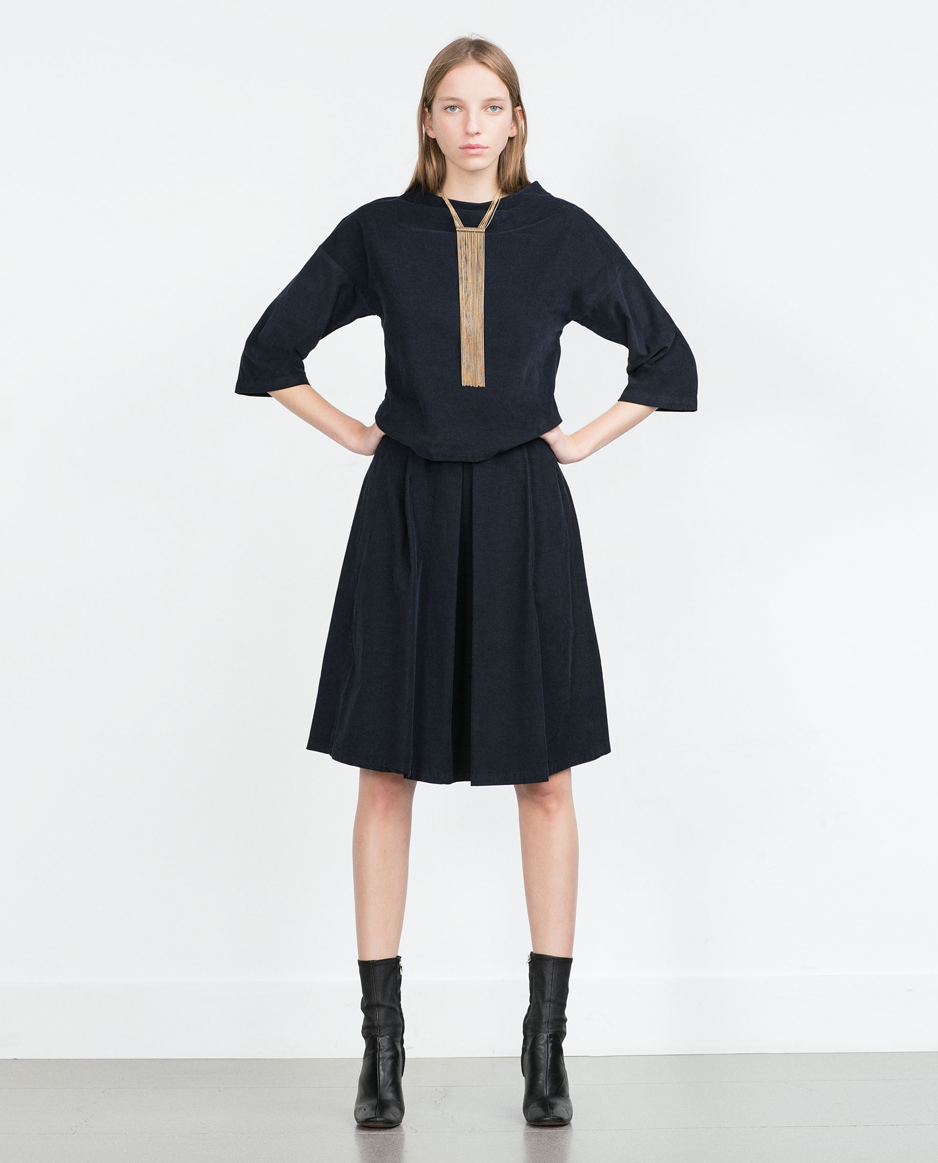 Blue corduroy skirt