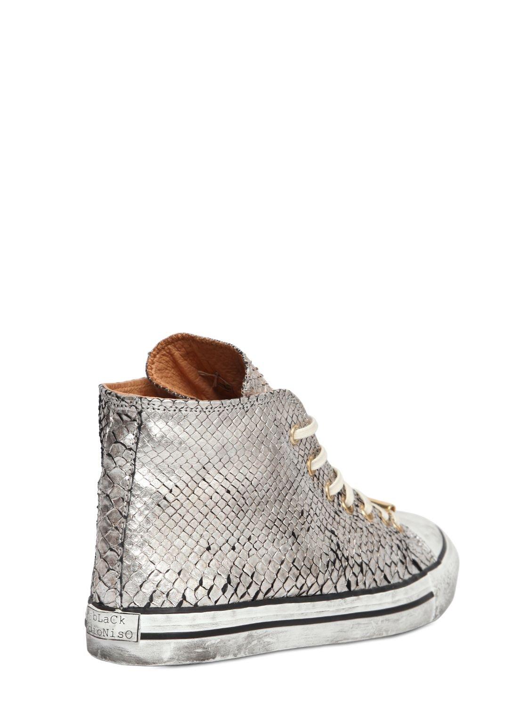 Black Dioniso Metallic Python Sneakers