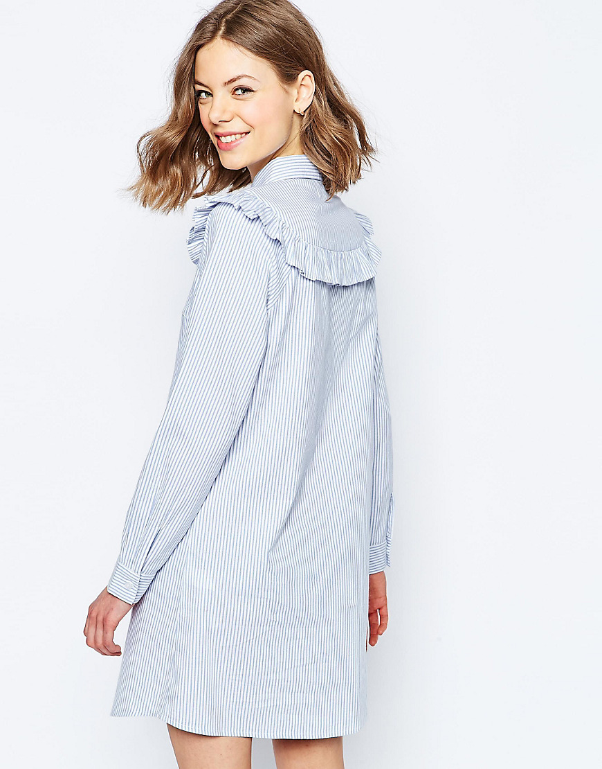 7436a12c42d Lyst - ASOS Shirt Dress With Frill Detail In Stripe - Multi in Blue
