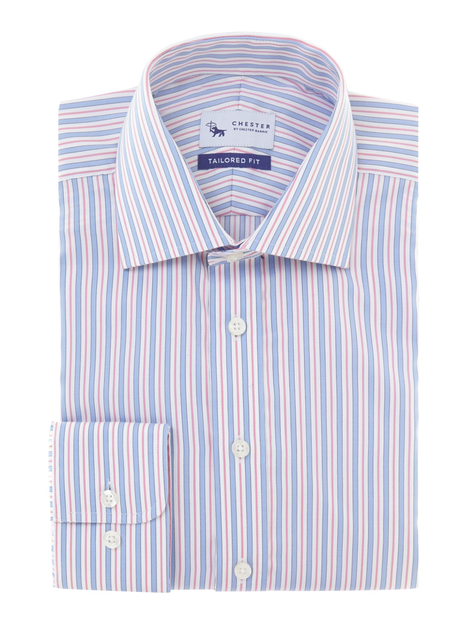 Chester Barrie Cotton Stripe Long Sleeve Shirt in Pink for Men