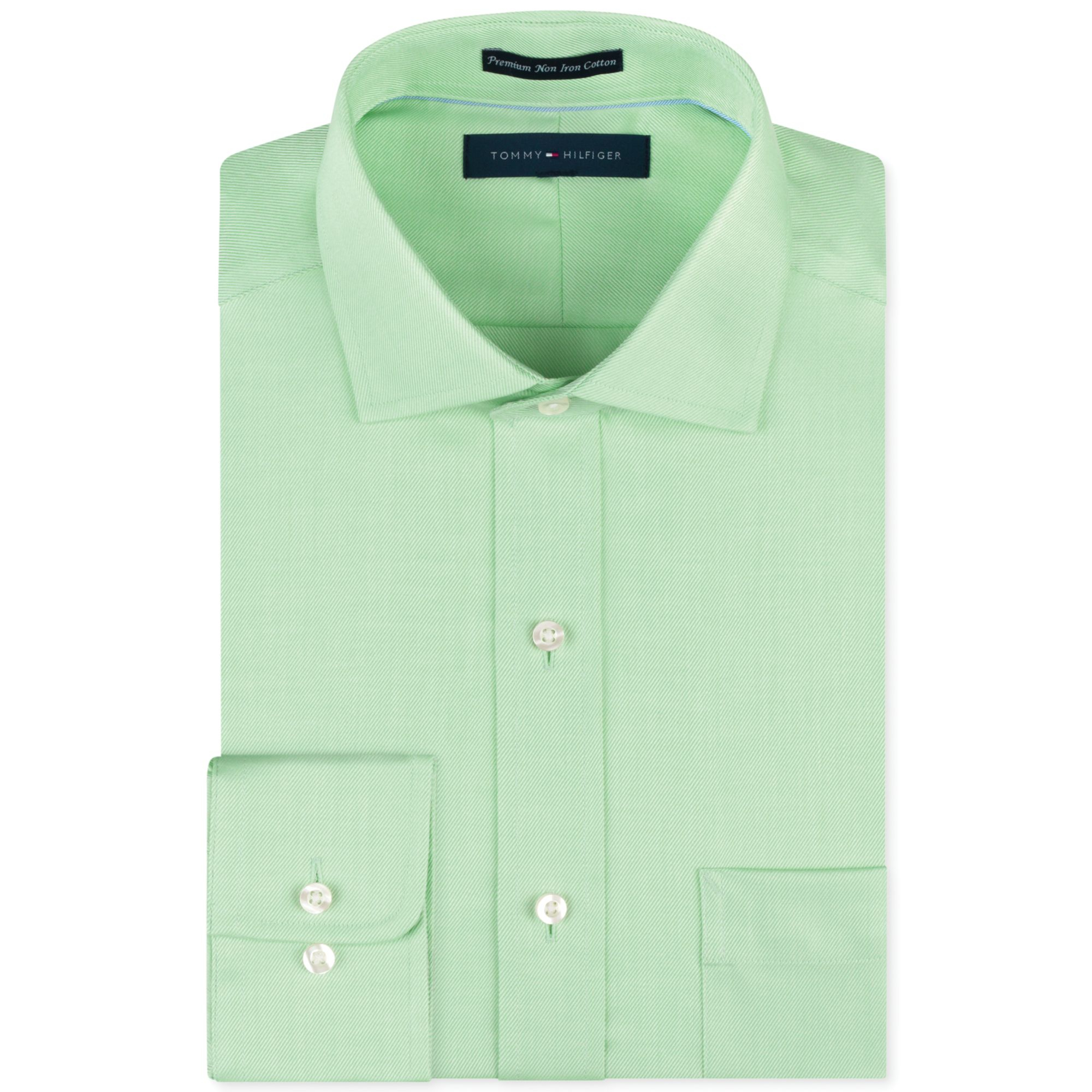 Lyst tommy hilfiger noniron light green solid dress for White non iron dress shirts