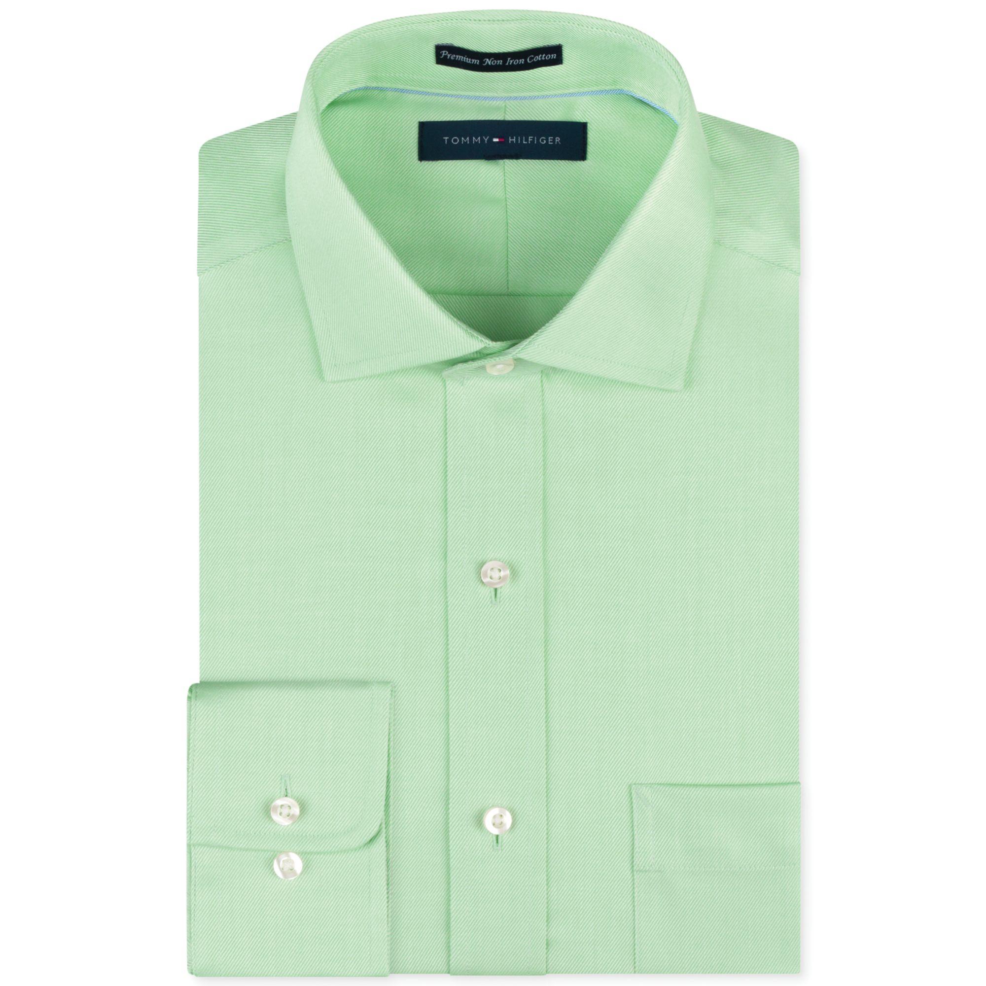 Tommy Hilfiger Noniron Light Green Solid Dress Shirt In