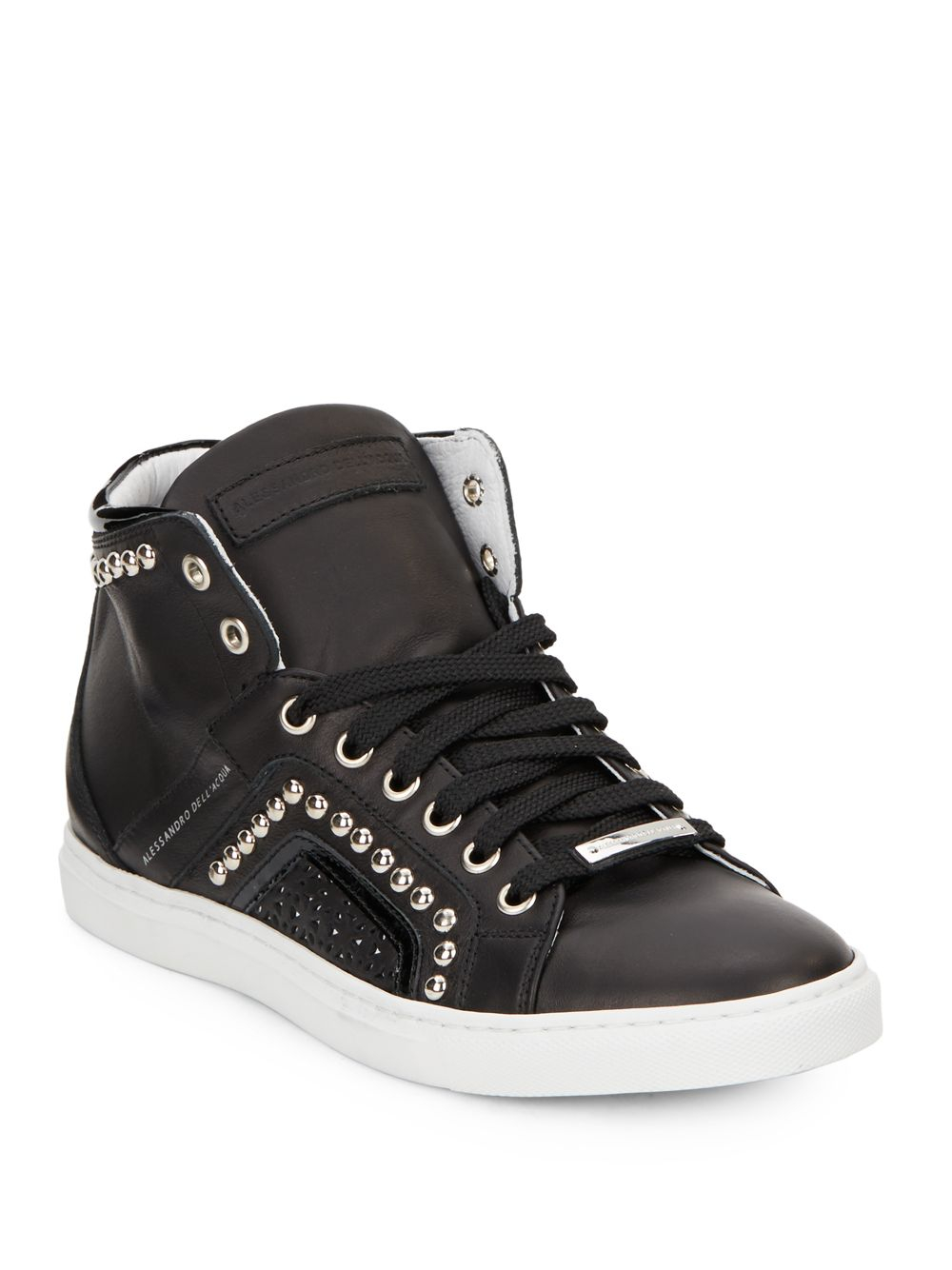 Alessandro Dell Acqua Studded High Top Leather Sneakers In border=