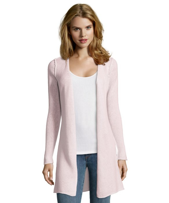Autumn cashmere Pink Cashmere Speckled Knit Open Duster Cardigan ...