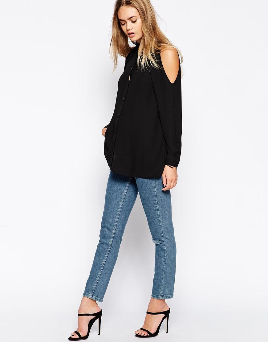 asos cold shoulder blouse in black lyst. Black Bedroom Furniture Sets. Home Design Ideas