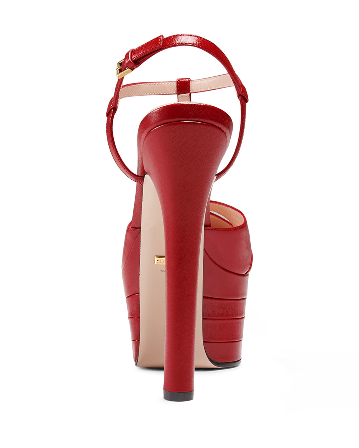 e90929d6c Gucci Angel Leather Platform Pump in Red - Lyst