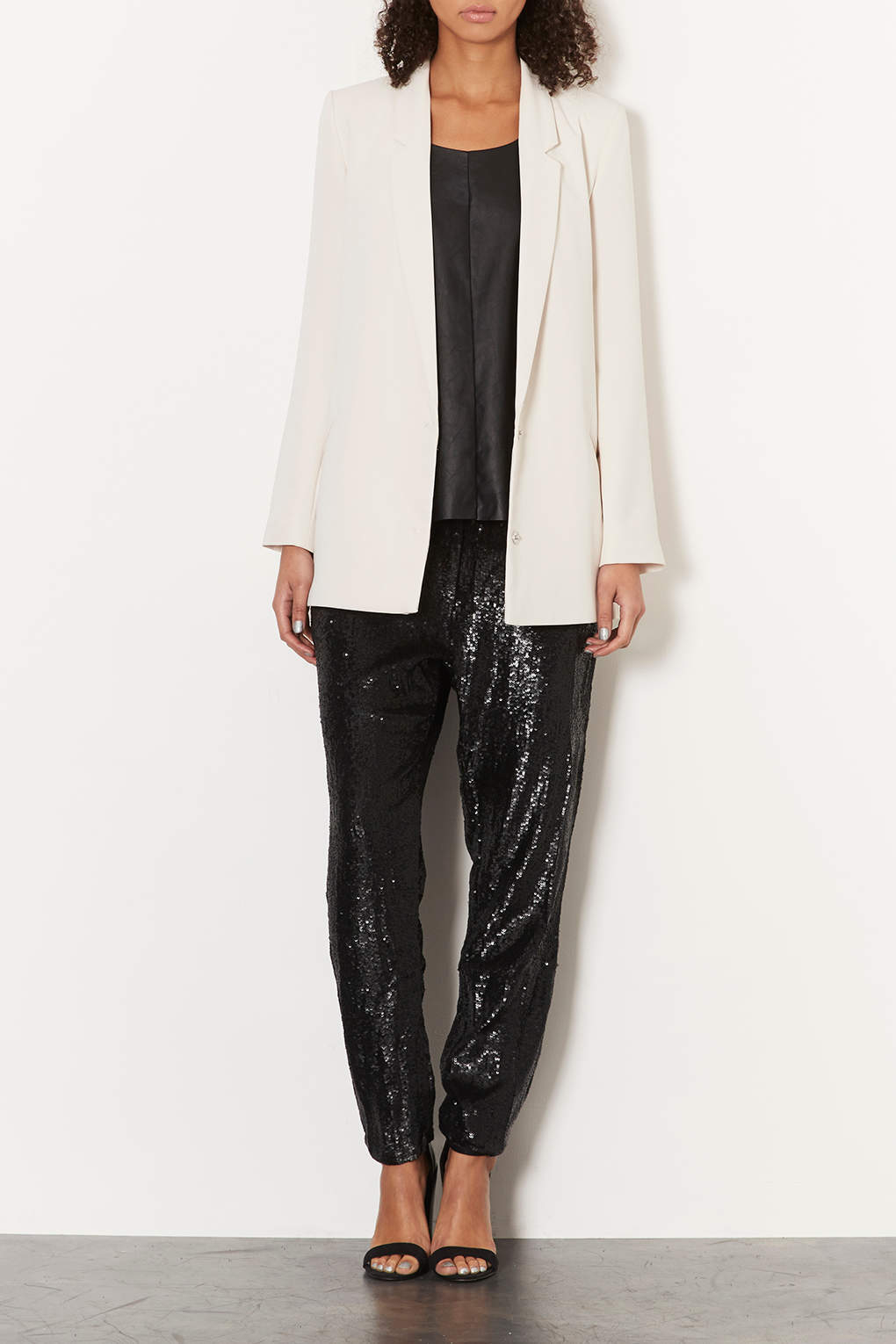Lyst Topshop Sequin Slim Trousers In Black