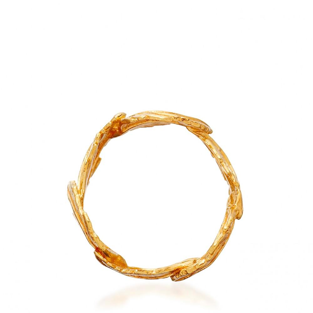 Alex Monroe Feather Ring in Yellow (Metallic)