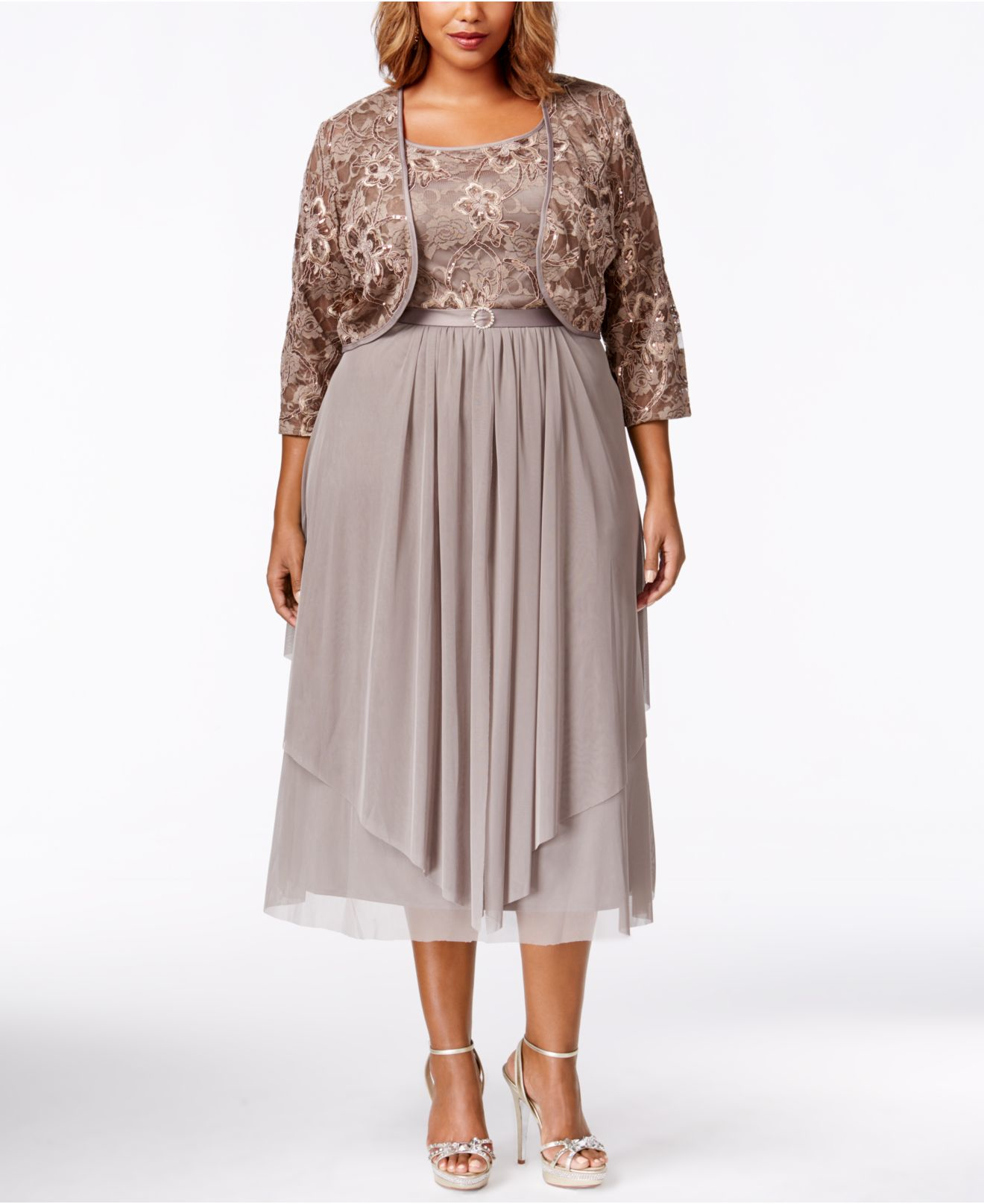 R & M Richards Plus Size Sequined Lace Dress And Jacket in ...