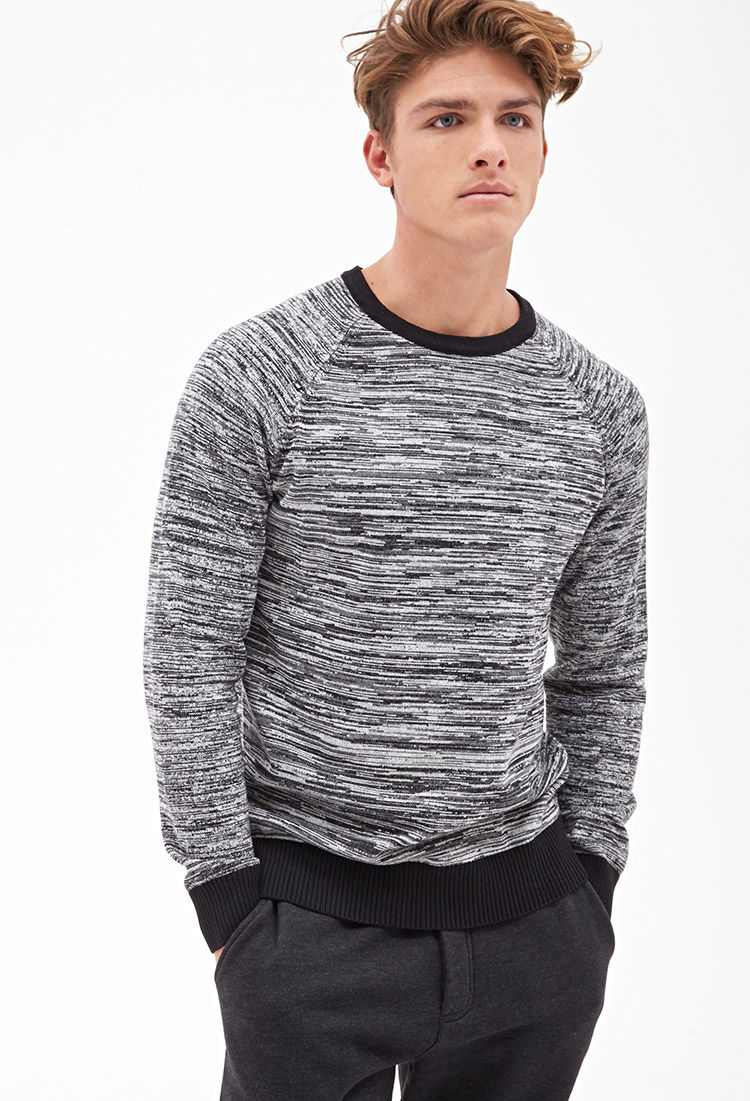 Knitting Sweaters For Men : Lyst forever marled knit sweater in black for men